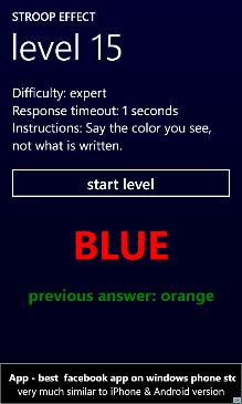 Stroop Effect Screenshot 3